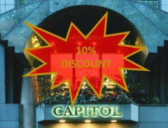 Da Hotel Capitol sconti del 10% sulle prenotazioni online